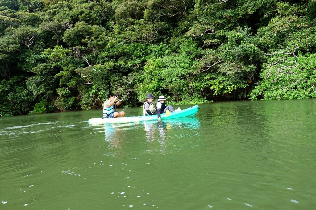 大自然の中カヤックを漕ぐ親子